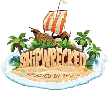 VBS logo Shipwrecked:Rescued by Jesus. Cartoon photo of ship on island