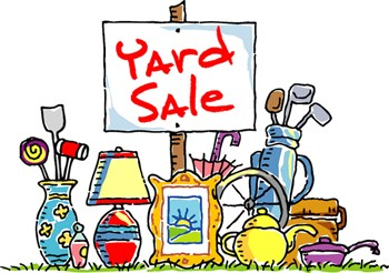 cartoon sign of yard sale items with sign reading yard sale