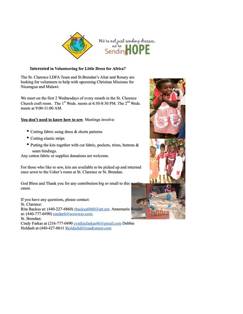 Flyer for Little dresses for africa sponsored by altar and rosary society meets st Clarence 1st  wed of the month 6:30-8:30pm; 2nd Wednesday 9-11 am