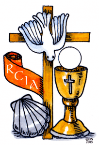 cross with dove, chalice, host and banner reading RCIA