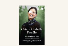cover of book: Chiara Corbella Petrillo A Witness to Joy: woman with right eye patch  smiling