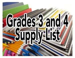 school supplies with text reading grades 3 4