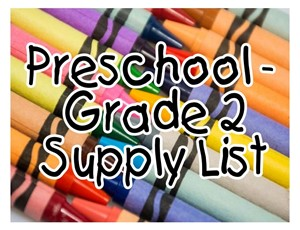 crayons pre thru grade 2 supply list