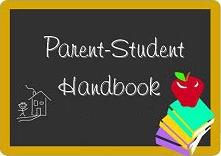 student handbook on a chalkboard