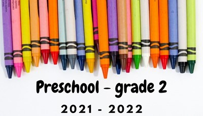 crayons of all colors in a chevron pattern along the top reading preschool-grade 2 supply lists