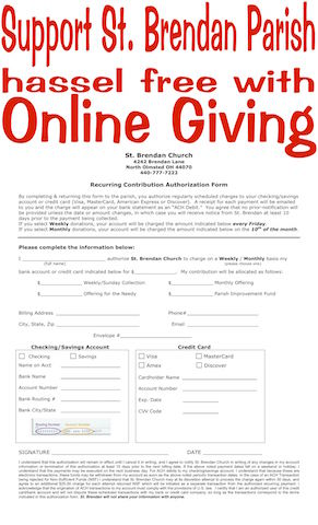 photo of form; support st brendan parish hassel free with online giving