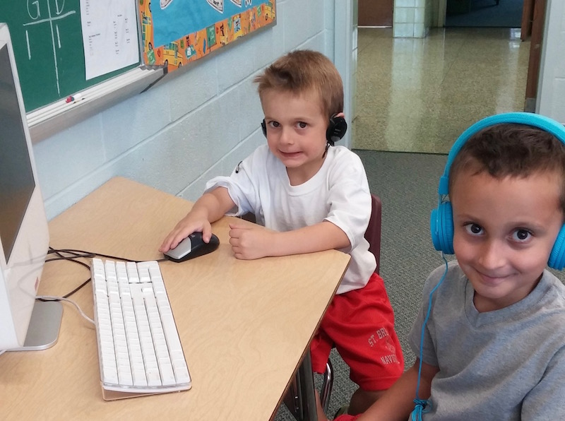 Kindergarten show their tech skills on the computer
