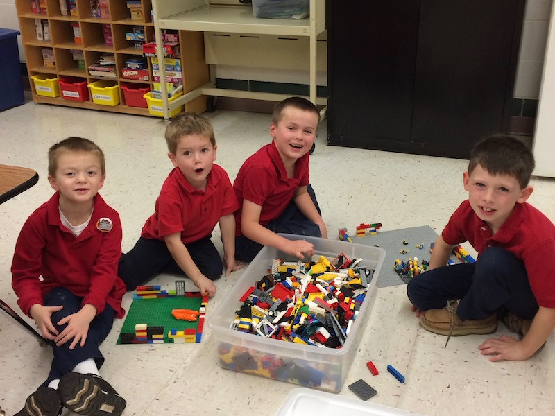 students create with LEGOS