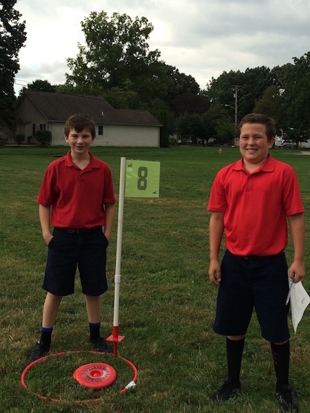 boys test their skills for Fris-Golf