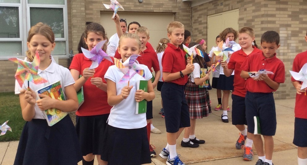 Each each St. Brendan School makes Pinwheels for Peace  to celebrate International Day of Peace