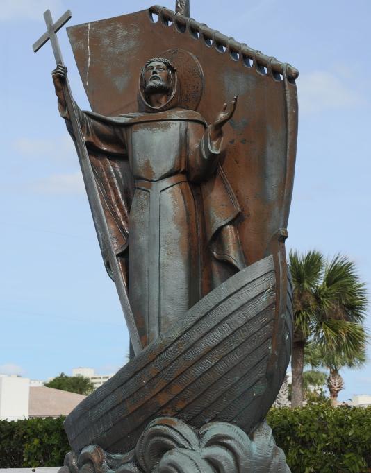St Brendan Statue in Boat