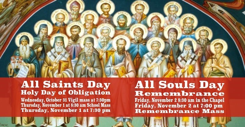 Stock photo of saints collage image all saints day holy day vigil october 31 7:30pm november 1 8:30am and 7:30pm; all souls day remembrance 8:30am and 7:00pm