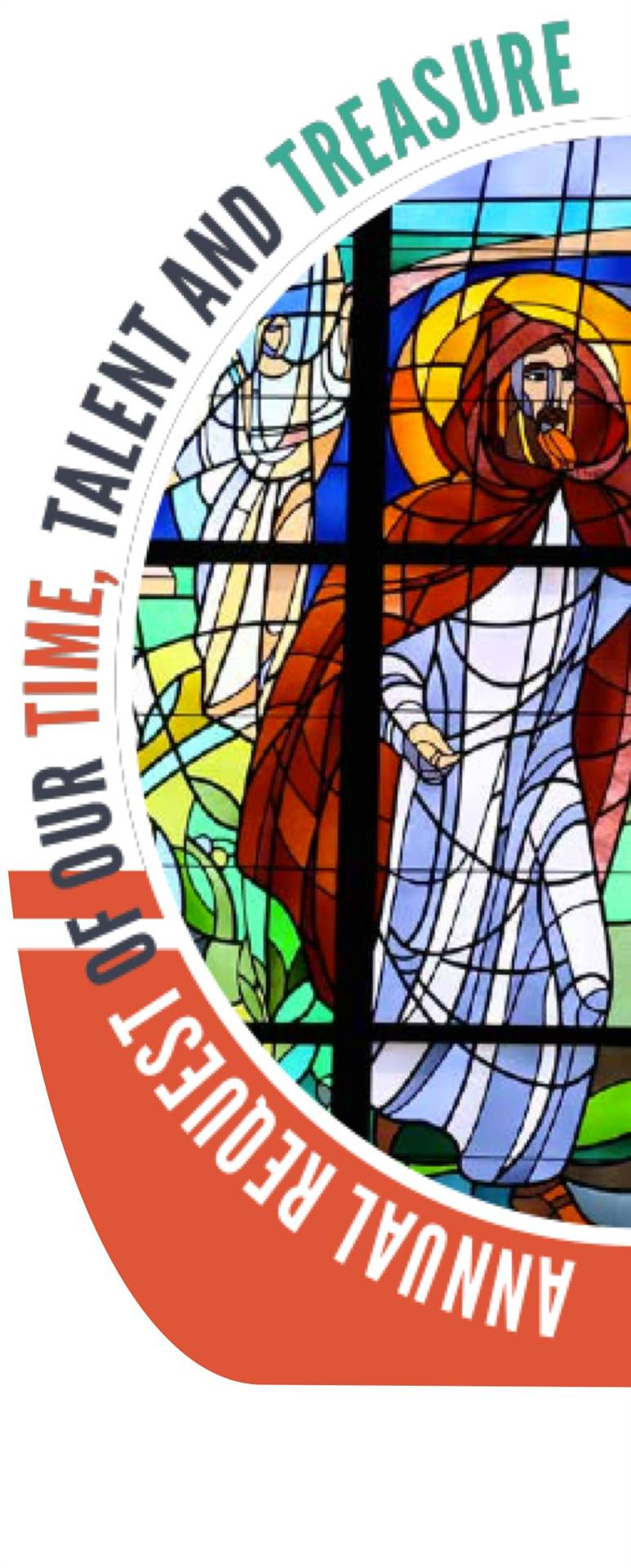 Annual Request of Time, Talent, Treasure with picture of St. Brendan Stained glass window in the chu