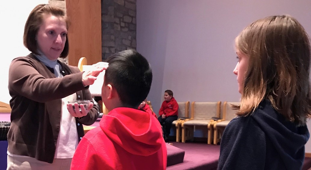 School children receive Ashes on Ash Wednesday