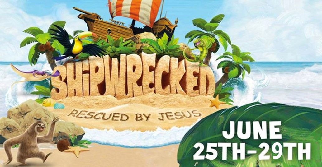 VBS logo Shipwrecked:Rescued by Jesus. cartoon photo of A sailboat washed up onto an island.