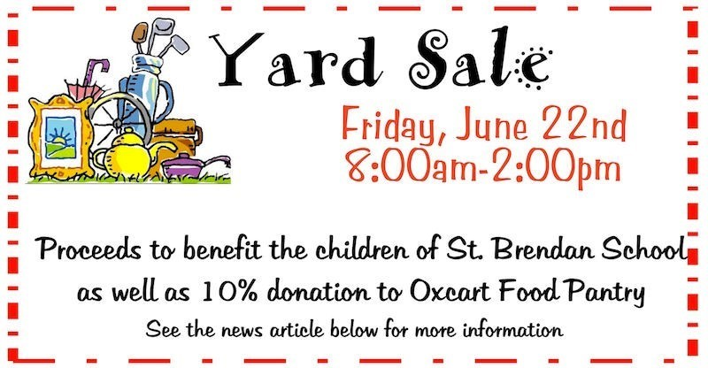 information on parish yard sale june 22 from 8 to 2 pm