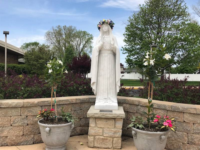 Our Blessed Mother statue in the prayer garden