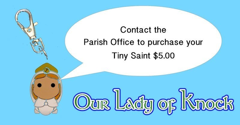 Our Lady of Knock tiny saint for purchase $5.00 contact the parish office