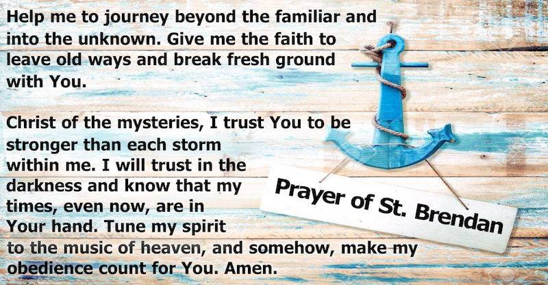 stressed wood with anchor and text of prayer of st brendan