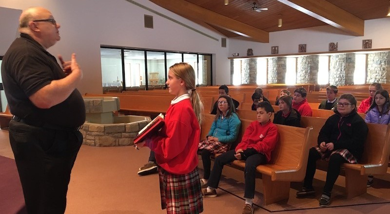Deacon Bob meets monthly with the Jr. High students to highlight our yearly theme, Anchored in the Mass