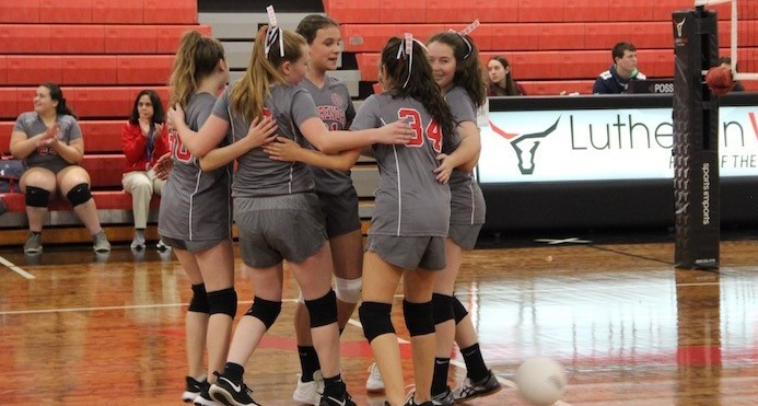 8th grade girls volleyball had an undefeated regular season