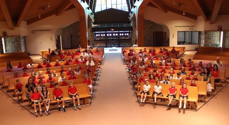 St. Brendan School students at the first all school mass of the year