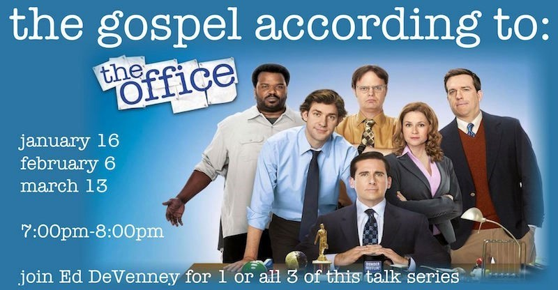 the gospel according to the office, three part series Jan 16, Feb 6, Mar 13, photo credit of cast of the office tv show