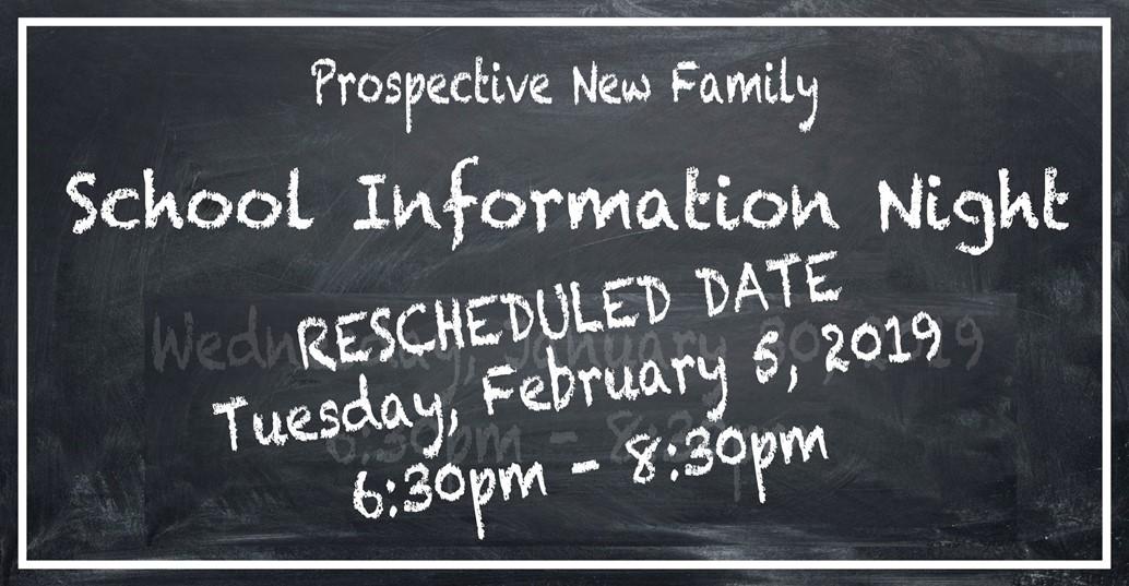 new parent information night rescheduled FEB 5 6:30-8:30