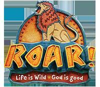 VBS logo Roar: Life is Wild, God is Good. Cartoon photo of lion roaring