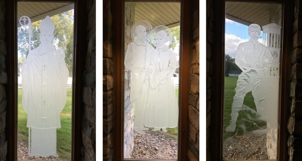 New windows of faith, first 3 of 10 installed: St. Partick, Sts. Loius and Ziele Martin, and Blessed Pier Giorgio Frassati