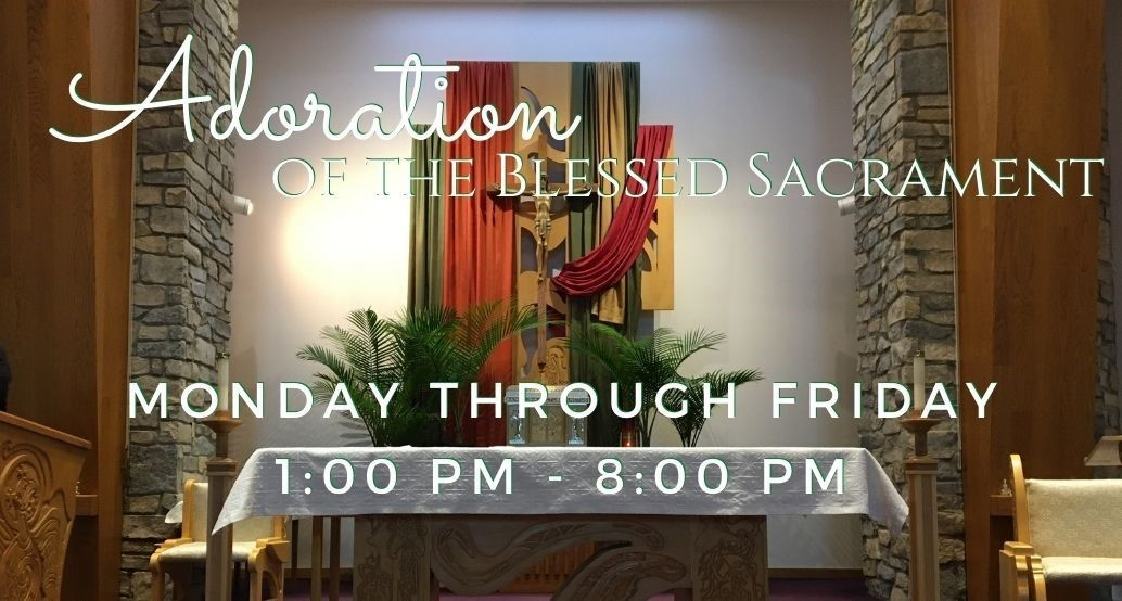 Adoration Mon-Fri 1-8pm; photo of st brendan church altar with fall linens over the cross