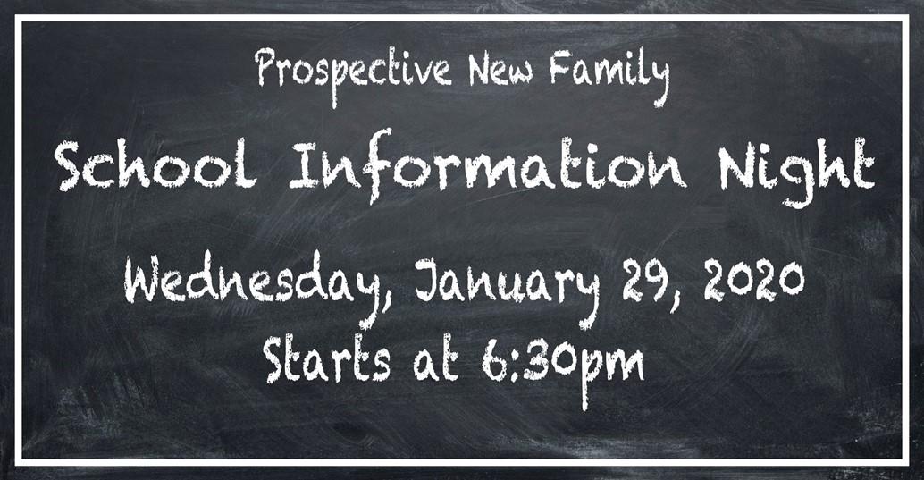 SChool information night wednesday 29 2020 starting at 6:30pm