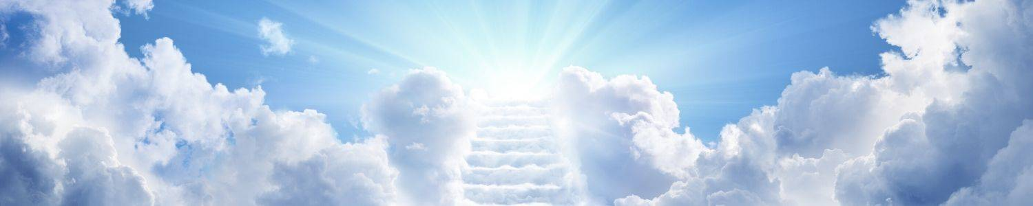 cloud staircase leading to heaven set in blue skies