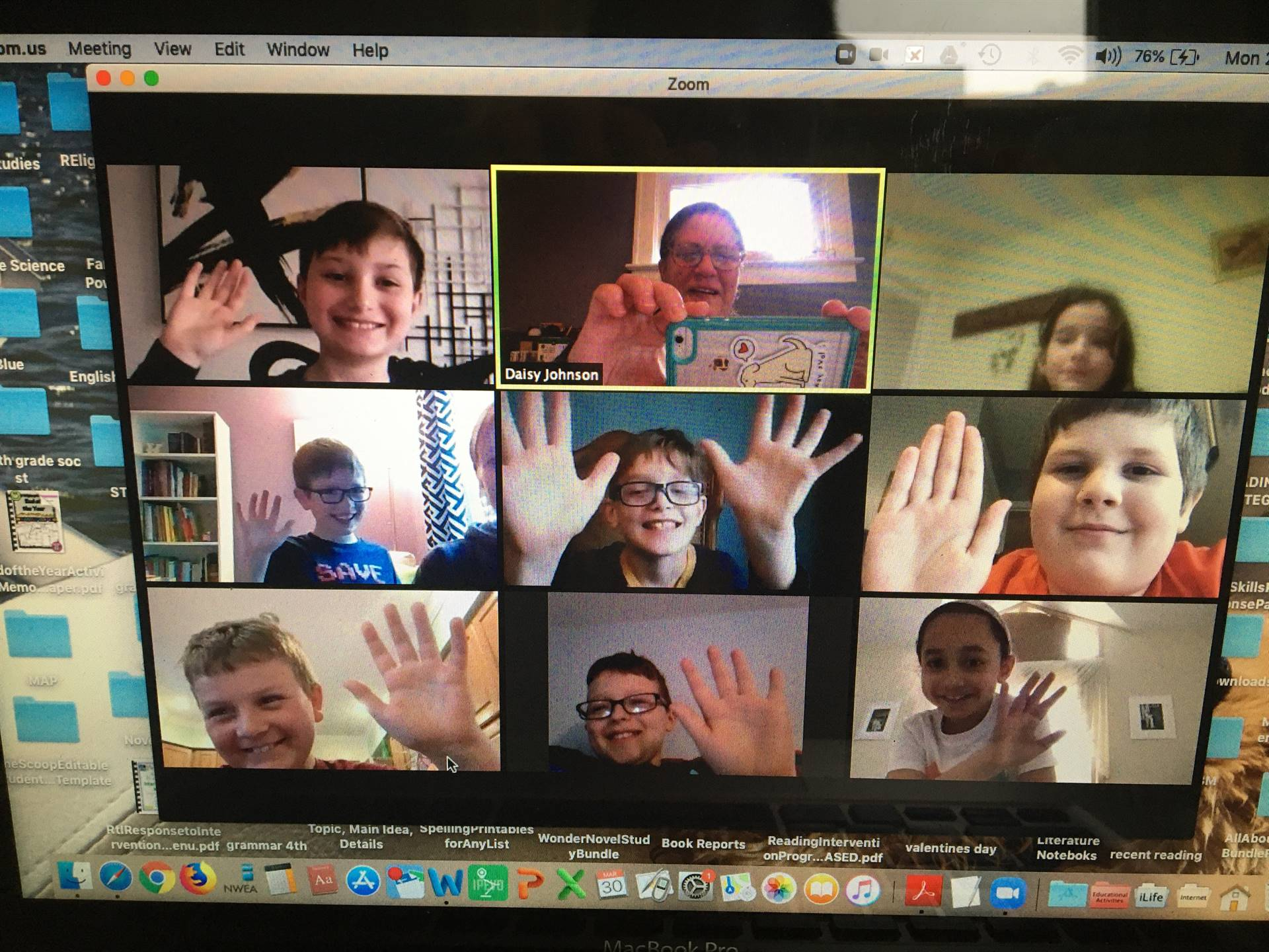 picture of a classroom zoom meeting