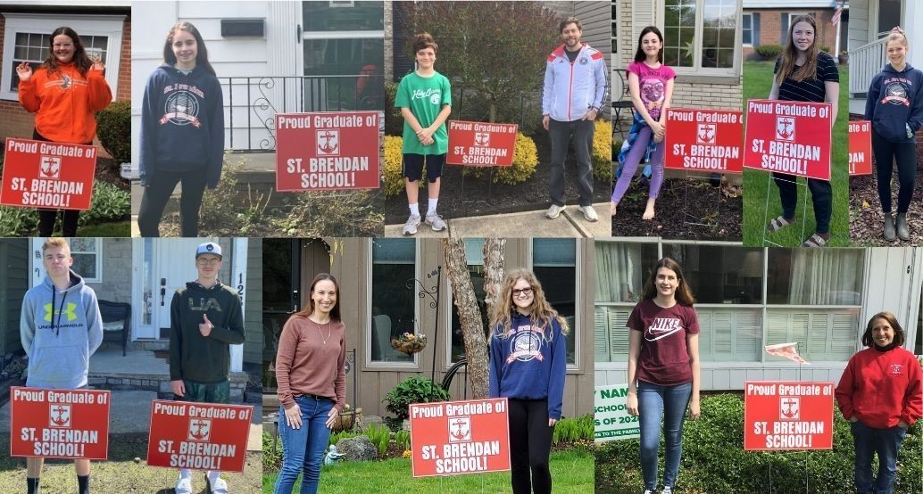 collage of 8th graders with their yard signs that were delivered by Jr. High Faculty