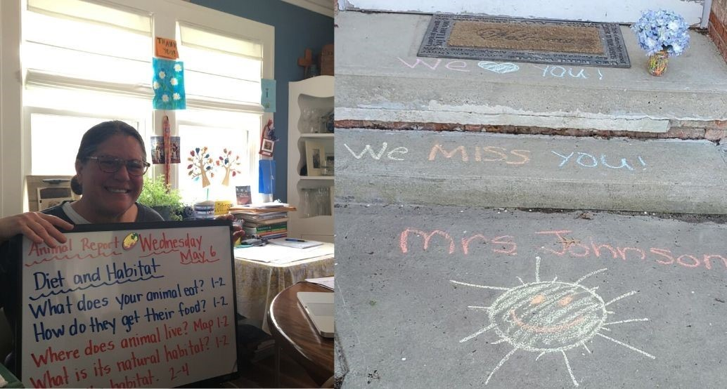 "Mrs. Johnson shows her at home school desk and a sidewalk chalk reading ""we miss you mrs. johnson"""