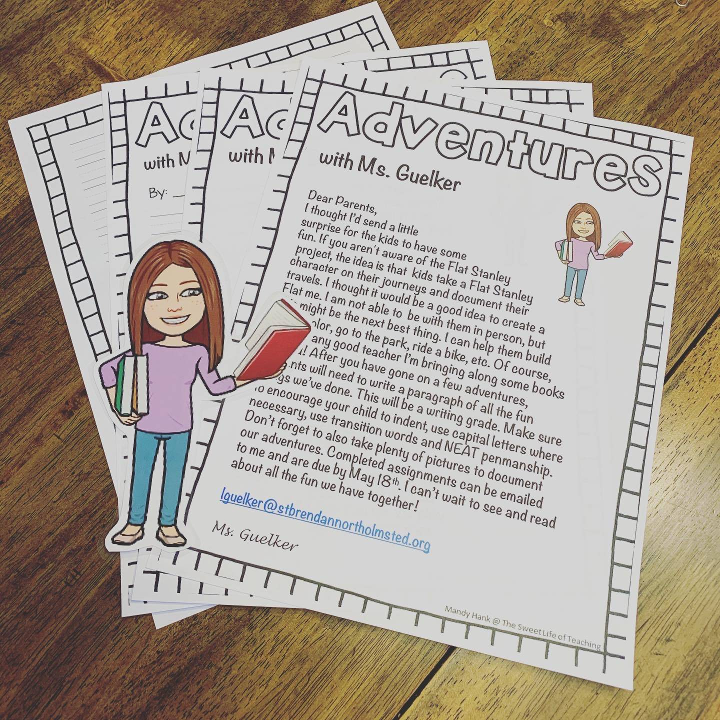 bitmoji photo of mrs guelker with photo of her 2nd grade adventure instructions