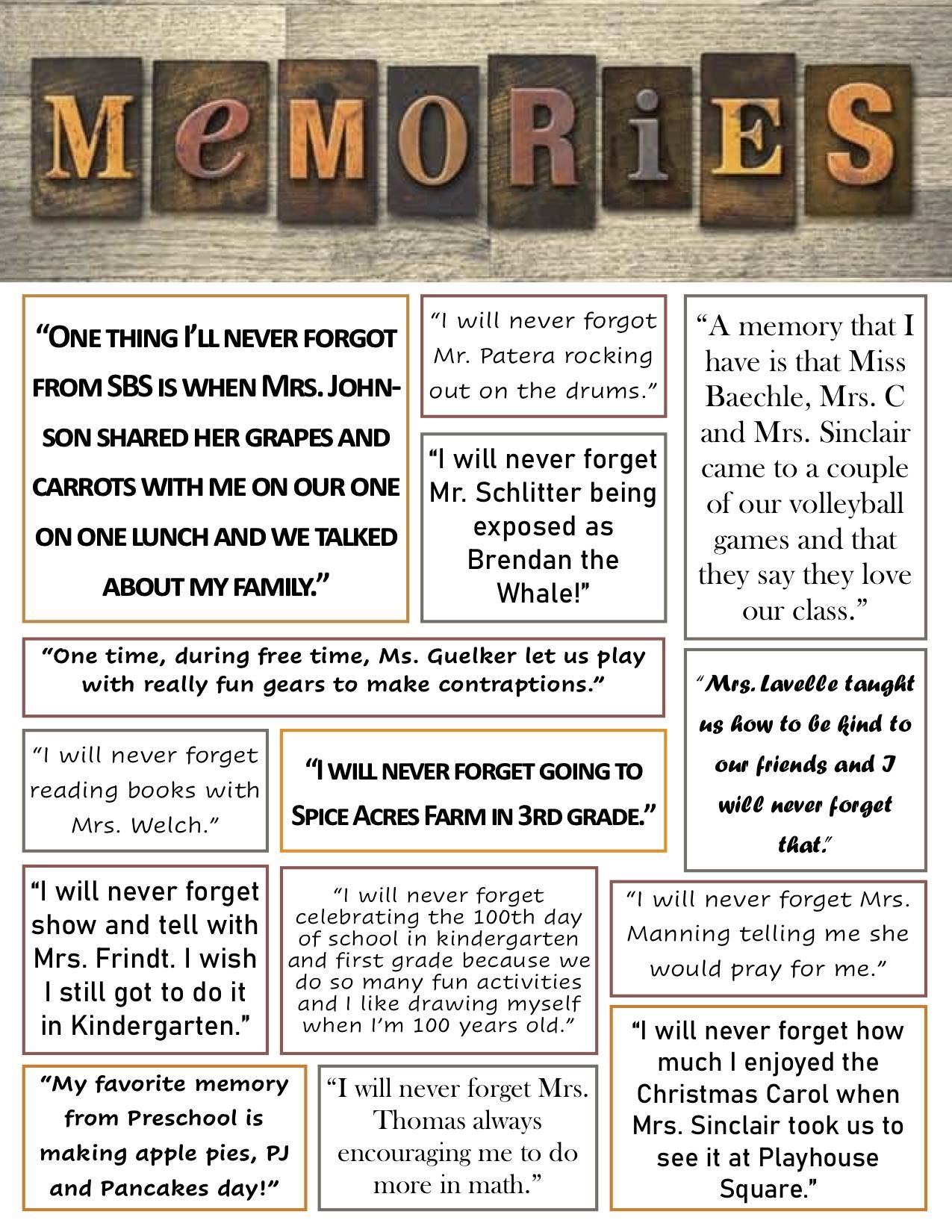 memories messages of a specific memory about each teacher