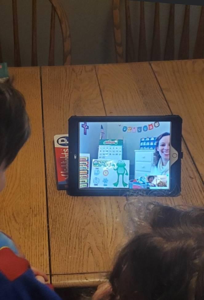 preschool zoom meeting student view of teacher