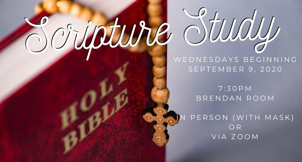 bible draped with a rosary: Scripture Study beginning wednesday september 9 7:30 pm in the brendan room