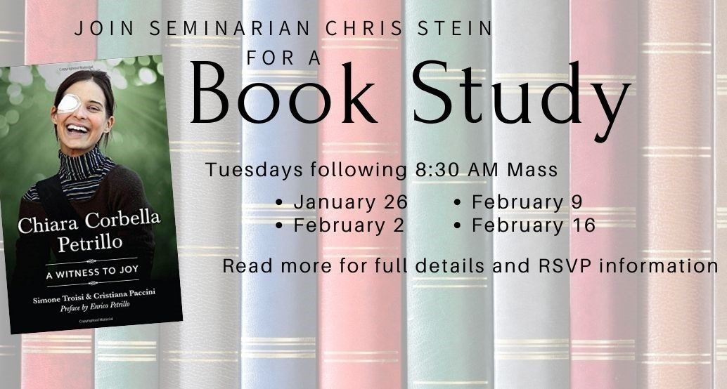 background of books for seminarian chris stein's book study beginning jan 26 for 4 tuesdays after 8:30 am mass