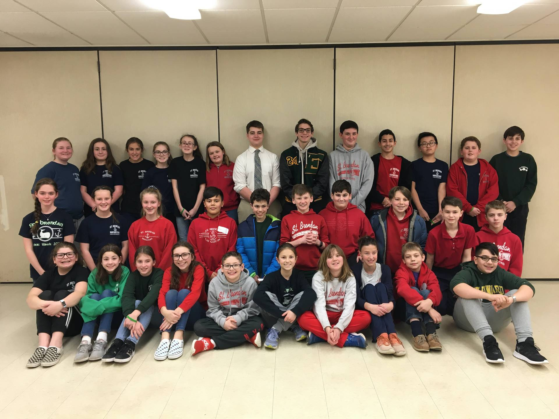 st edward retreat team with the jr high students