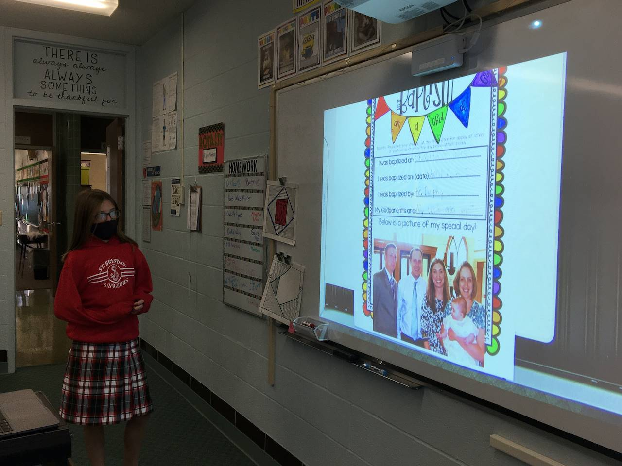 student presents her report