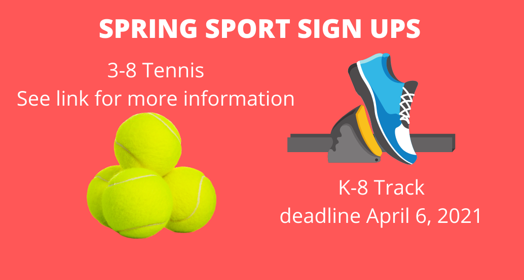 spring sport sign up tennis and track