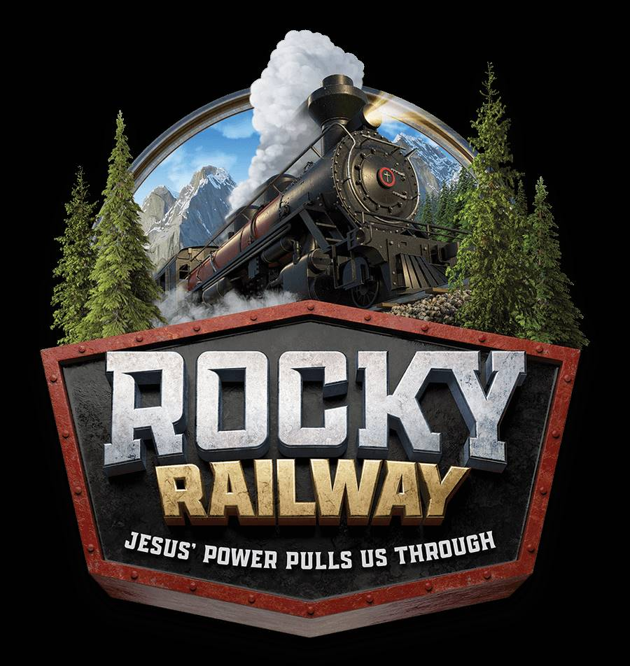 drawing of train going through mountains and pine trees: Rocky railway Jesus' power pulls us through