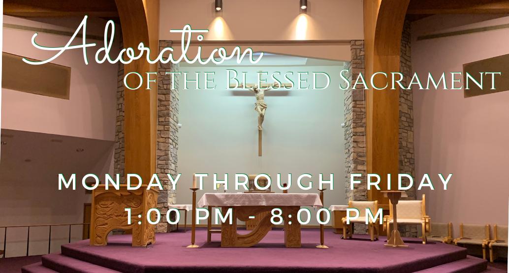 Adoration Mon-Fri 1-8pm; photo of st brendan church sanctuary showing new crucifix
