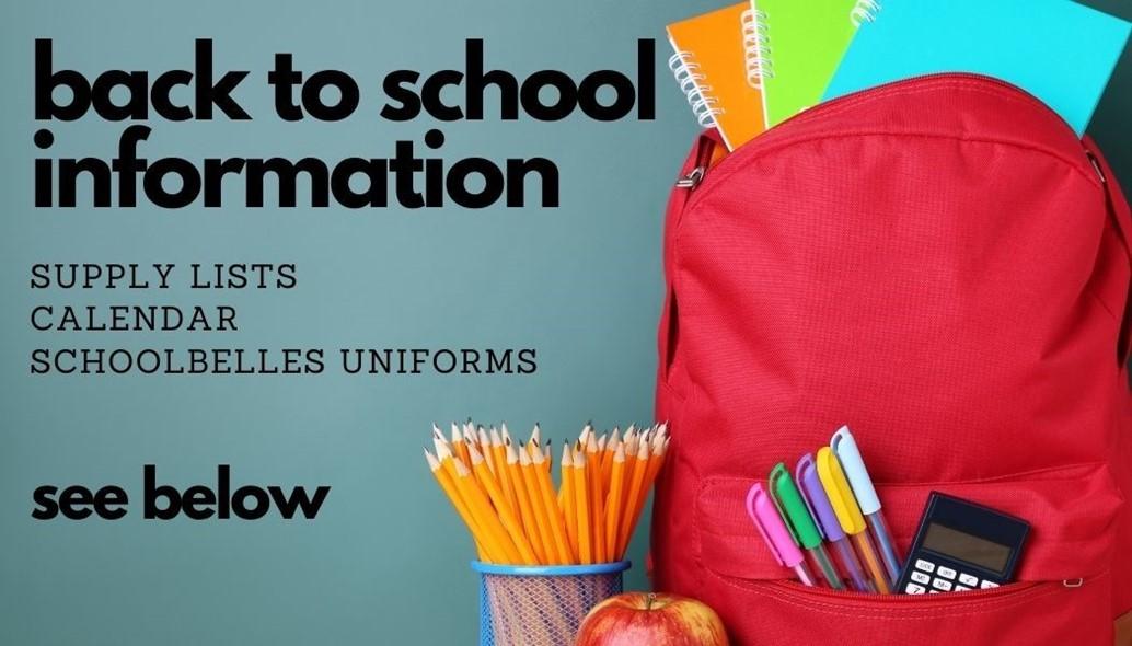 backpack of school supplies info below supply lists calendar